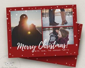 Red Christmas Card Template, Photo Christmas Card Template, Photoshop Christmas Card Template, Holiday Card Template, PSD Template, 5x7