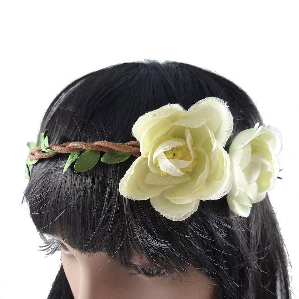 Beige Wedding Flower Crown Headband E10251039381809919m 990