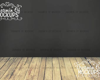 Blank Wall Mockup - wood, chalkboard backdrop, chalkboard background, wood floor, wall mock up - INSTANT DOWNLOAD