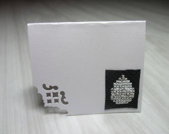 """Mini Card embroidered place """"Fluorescent and silver Christmas ball"""" brand"""