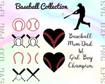 Baseball SVG Files - Baseball Dxf Files - Baseball Clipart - Baseball Mom Cricut Files - Baseball Cut Files - Svg, Dxf, Png, Eps Vectors