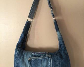 recycled blue denim Messenger bag