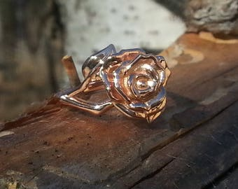 14K Rose Gold Rose and Leaf ring