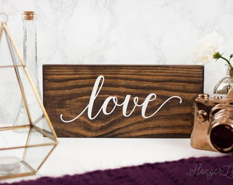 Love Wood Sign | Farmhouse Style Decor | Rustic Wood Sign | Decorative Sign