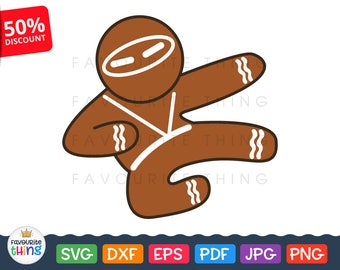 Ninja Gingerbread man Svg Christmas cut file Karate Ninjabread for Cricut, Silhouette Toddler Kid Baby Shirt vinyl decal Png Pdf Jpg Eps Dxf