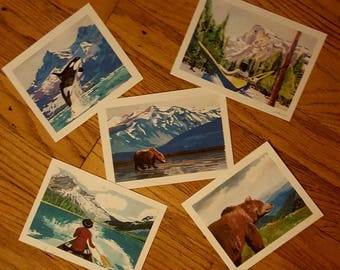 Alpine series. Set of five 4x6 artcard prints ready to frame. Perfect for baby's nursery or the man cave. Idividualy signed.