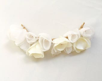 Ivory flower Crown for bride - hair and tiara for wedding hair accessory