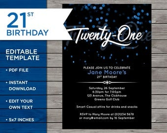 21st birthday template