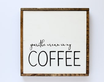 Coffee Sign   Coffee Lover Wood Sign, Framed Wood Sign, Farmhouse Style, Kitchen Decor, Coffee Bar Sign, Wall Decor, Hand Lettered Wood Sign