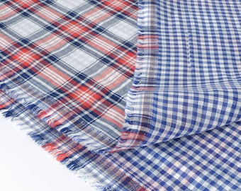 Double fabric reversible soft cotton gauze woven Plaid x 50cm