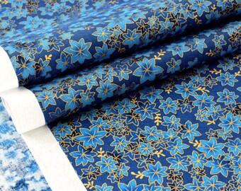 American fabric blue gold leaves blue x 50cm