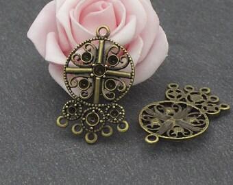 6 chandelier bronze 39.5 x 23 mm COB194