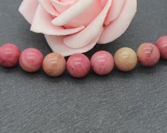 10 PG147 8 mm rhodonite round beads