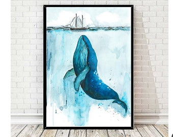 Rise up - Whale Watercolor Print
