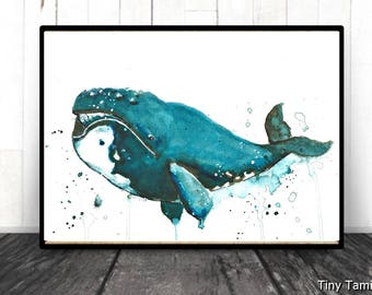 Bowhead -  whale - print - watercolor