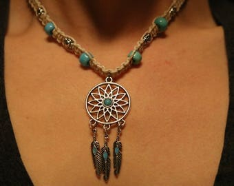 Dreamcatcher feather hemp necklace