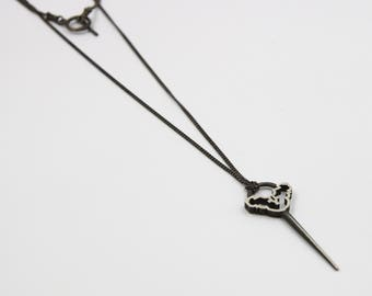 oxidized silver necklace. long necklace