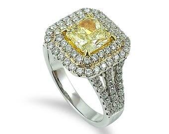 1 65 Cts Fy Si2 Radiant Cut Diamond Eglusa Mounted On 18k Wg Engagement Wedding Anniversary