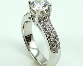 Engagement Ring 18K WG CZ Center Stone with 48-Diam Side Stones at 0.42 Cts.