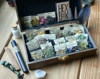 Magick Herb Collection - Spell Box - Magic Spells - Rituals - Witchcraft - Wiccan - Spell Herbs - Altar Accessories - Pagan - Wooden Box