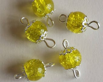 5 connectors 8mm yellow Crackle glass beads