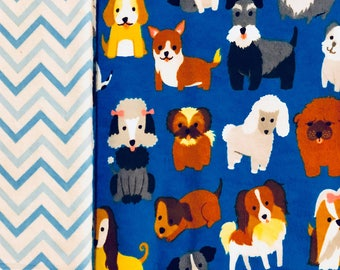 Cute Blue Dog Patterned Child/ Toddler Sized Sewn Blanket