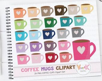 Coffee Mugs Clipart, Mug Clipart, Tea mugs clipart, Tea clipart, Mug Clipart, Coffee Cups Clipart, Coffee Addict Clipart, Commercial Use