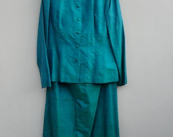 Turquoise green silk Vintage mandarin style evening jacket and full length skirt