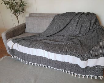 Large cotton throw blanket