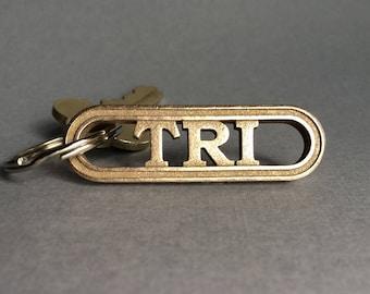 Triathlete keychain, triathlon gear, tri gift, swim bike run, triathlon training inspiration, tri keychain, triathlete jewelry, tri gear