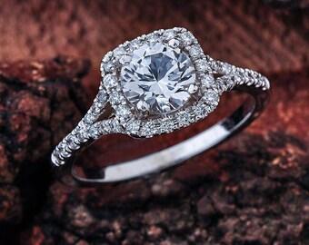 Moissanite Engagement Ring, Halo NEO Moissanite Engagement Ring, Moissanite White Gold Engagement Ring, Moissanite Halo Split Shank Ring