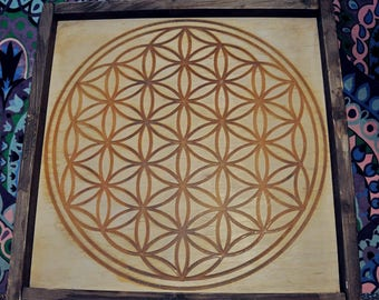"""Glow in the dark bedroom decor Bohemian wooden wall art, Sacred geometry Flower of Life grid Boho Valentines day gift for him 15.7"""" 40x40"""
