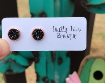 8mm Black Faux Druzy Studs on Rose Gold Setting