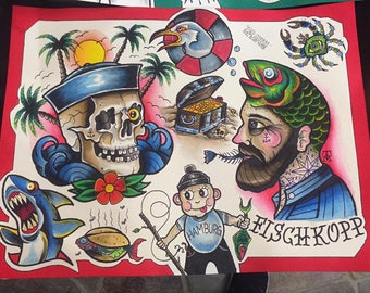 Old School Tattoo Flash by Tor Abyss - American Traditional. Limitierte Drucke (15 St.) / Limited Prints (15 pieces) ,