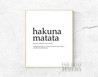 Hakuna Matata Dictionary Definition,  Disney Quote, Printable Wall Art, Typography, Definition Sign, Digital Poster Print, Home Decor