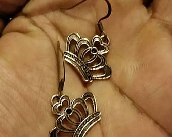 Copper Queens Crown Earrings