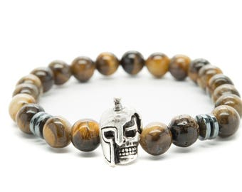 Brown Tigers Eye with Skull Gladiator Beaded Mens Stretch Bracelet