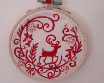 Redwork Deer Embroidered in Bamboo Hoop