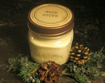 WOOD STOVE // Soy Candle // Wood Wick // Mason Jar // Fireplace Scent // Fall // Winter // Holiday