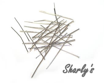 Set of 200 flat 45mm dark silver tone head pins: AT0017-AF-200