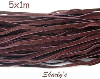 5 dangles of Burgundy suede cords