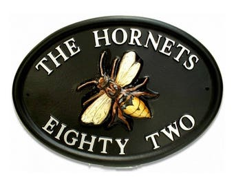 Beautiful Hand-painted House Sign / Plaque Personalised [Hornet] [Special Gift, Housewarming, New Home] [WORLDWIDE DELIVERY]