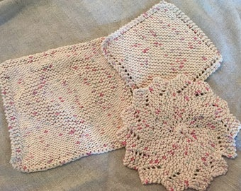 Hand knitted dishcloths - set of 3