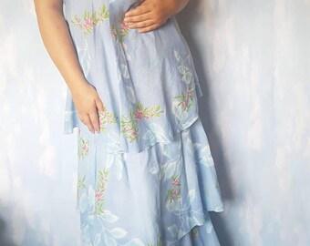 Vintage floaty sky floral print floor length dress