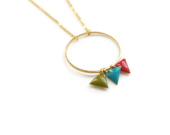 Necklace with red, blue and khaki triangles and gold ring