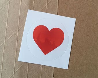 Red Love Heart with Pattern Inside - Round Sticker
