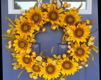 Luxury sunflower wreath fall summer quality yellow peach roses and berries on grapevine wreath handmade sunflower cottage farm floral decor