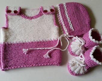 Clothing-Girls' Clothing-Clothing Sets-Coming Home Outfit-Newborn Outfit-Pink Baby Outfit-Knit Baby Outfit-Baby girl outfit-Newborn gift
