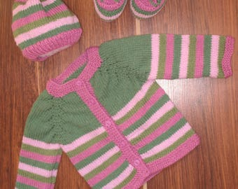 A baby set ,baby jacket ,knitted baby set, striped baby knitted set,striped baby set, knitted baby set, newborn gift, hand knit