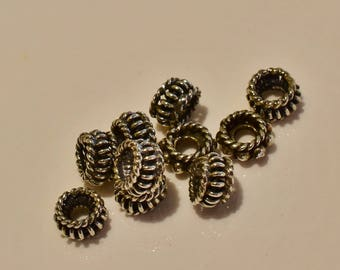 Bali Sterling Silver Bead Lot wire bead & granulated bead - Spacers -  5.5 x 5.5 x 3.4mm - 10 pieces - 2.98 grams